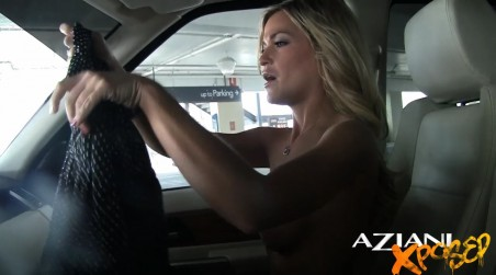 Part One - Hot blonde babe, McKenzee Miles, being sassy and getting changed in the car on her way to dinner.  She loves knowing everyone can see her! from Aziani Xposed