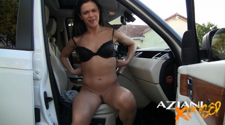 After partying at the bar, Alyssa Reece undresses in the car and then needs to find a place to pee in public! from Aziani Xposed