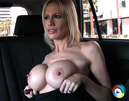 Busty blonde, Kylie Worthy, shows off her awesome boobs and personality while flashing unsuspecting drivers as Rachel Aziani drives them around town! from Aziani Xposed