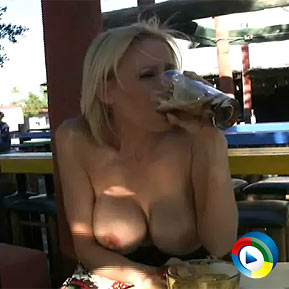 Busty blonde, Kylie Worthy, shows her Basic Instinct by spreading her long legs and exposing her pussy up her dress while having drinks at a restaurant! from Aziani Xposed
